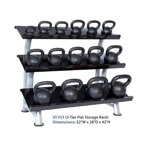 3 Tier Kettlebell Rack: Hampton Fitness 3T-FLT 3-Tier Flat Kettlebell Rack