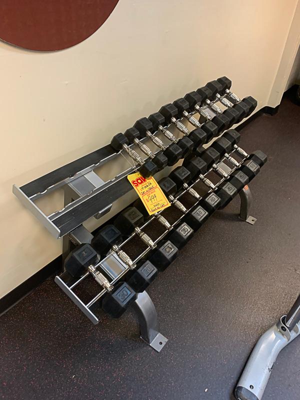 5-50 lb Dumbbell Set w/Rack